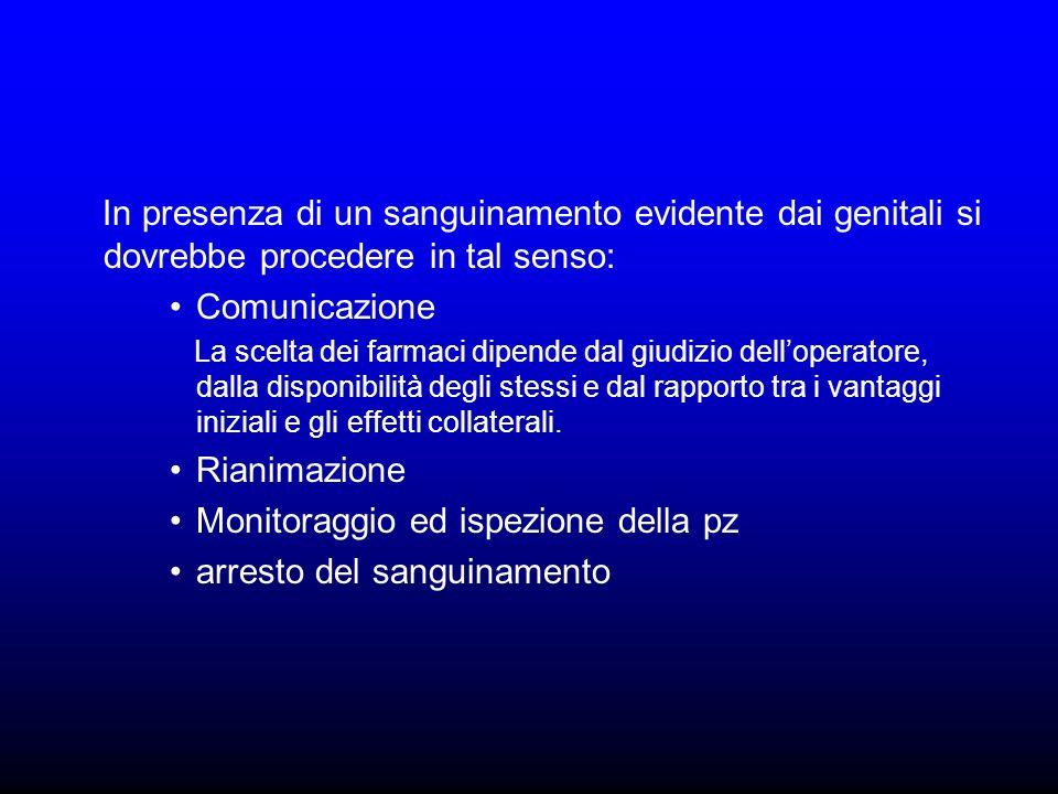 Monitoraggio ed ispezione della pz arresto del sanguinamento