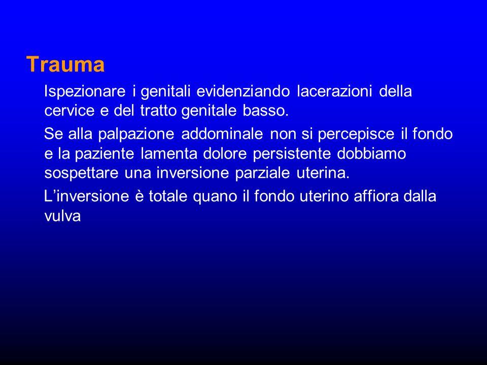 TraumaIspezionare i genitali evidenziando lacerazioni della cervice e del tratto genitale basso.