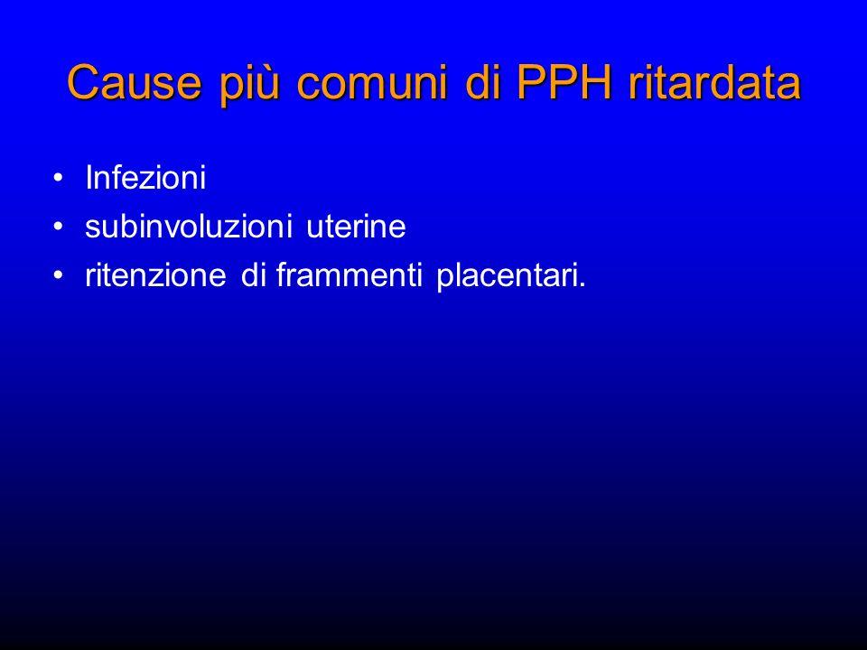 Cause più comuni di PPH ritardata