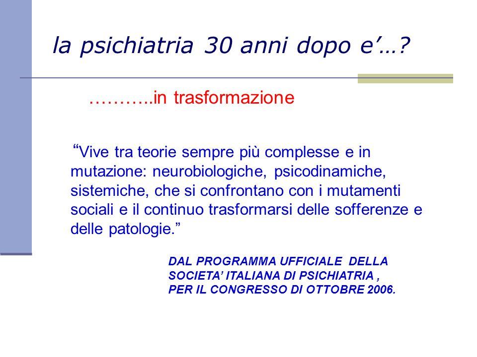 la psichiatria 30 anni dopo e'…