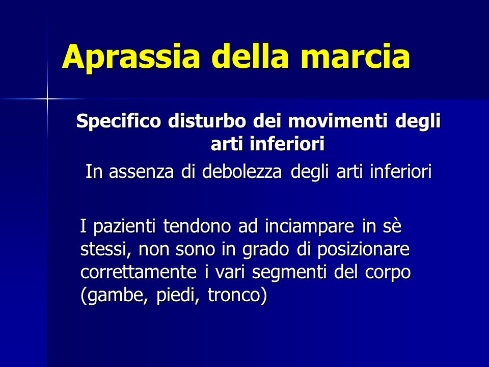 Specifico disturbo dei movimenti degli arti inferiori