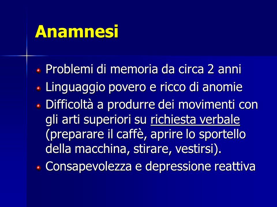 Anamnesi Problemi di memoria da circa 2 anni