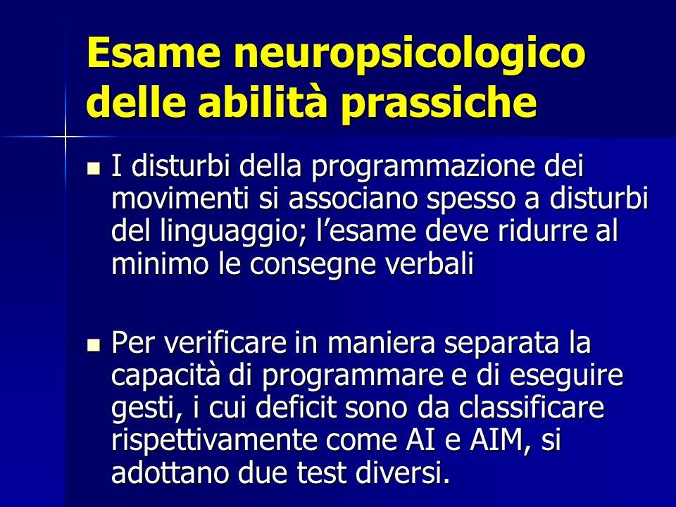 Esame neuropsicologico delle abilità prassiche