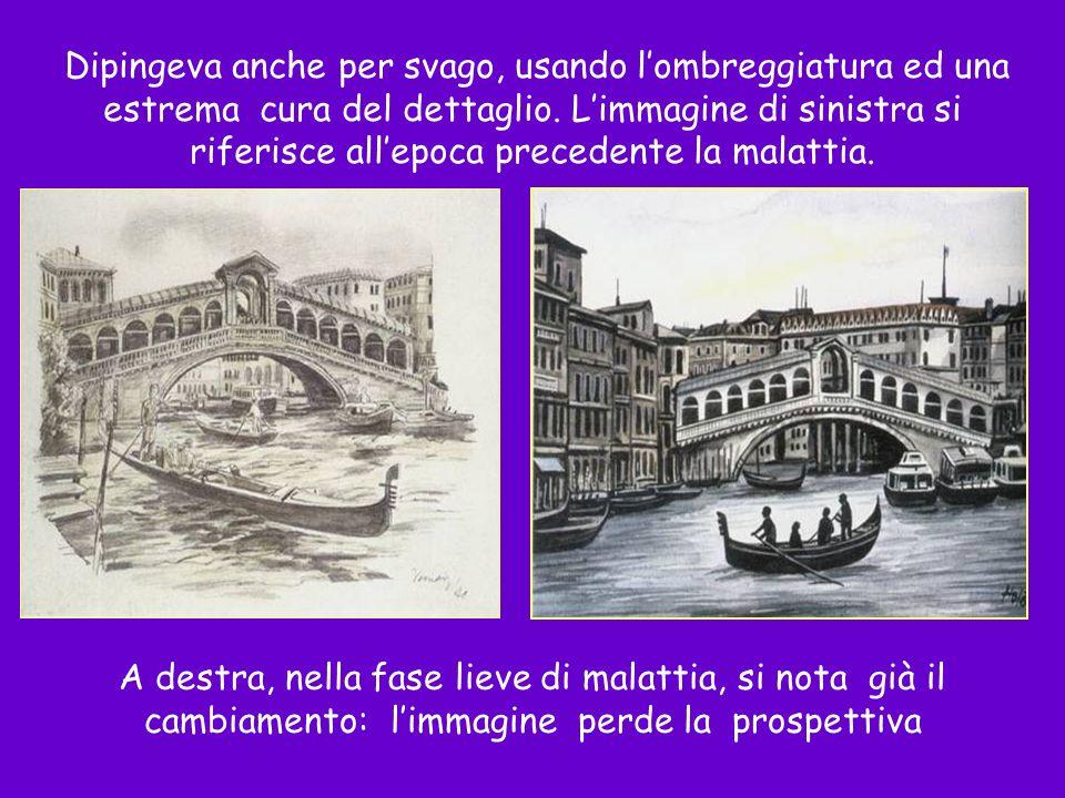 Dipingeva anche per svago, usando l'ombreggiatura ed una estrema cura del dettaglio. L'immagine di sinistra si riferisce all'epoca precedente la malattia.