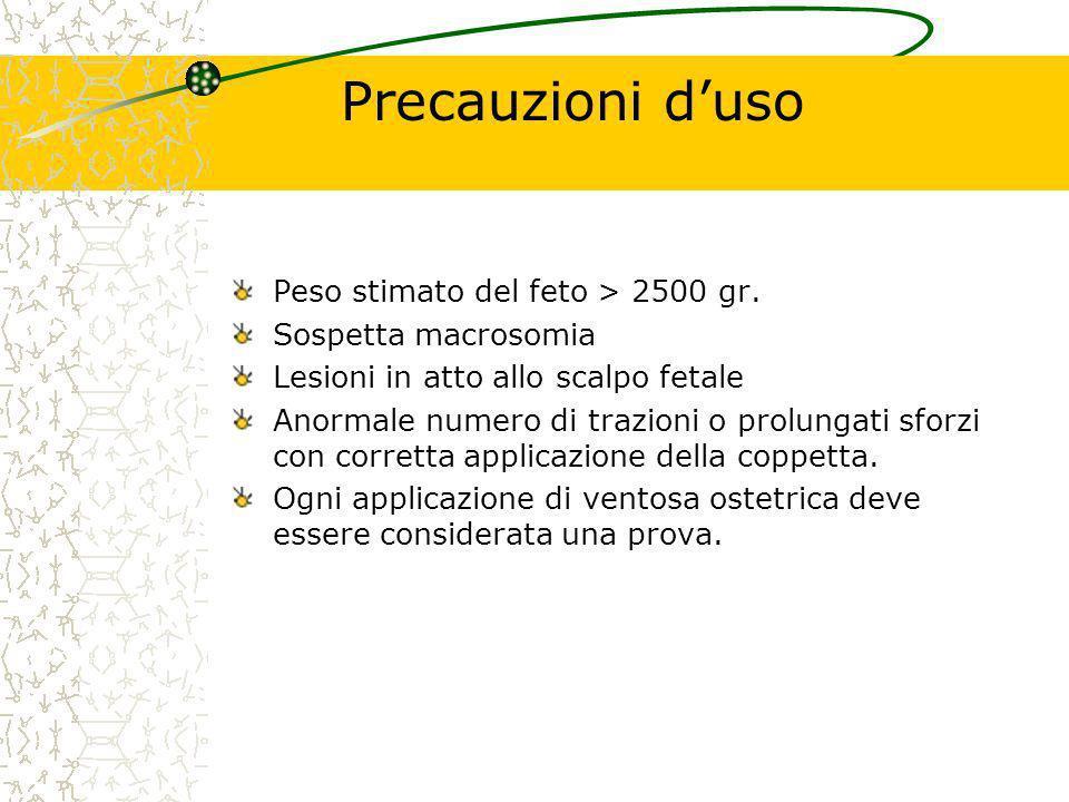 Precauzioni d'uso Peso stimato del feto > 2500 gr.