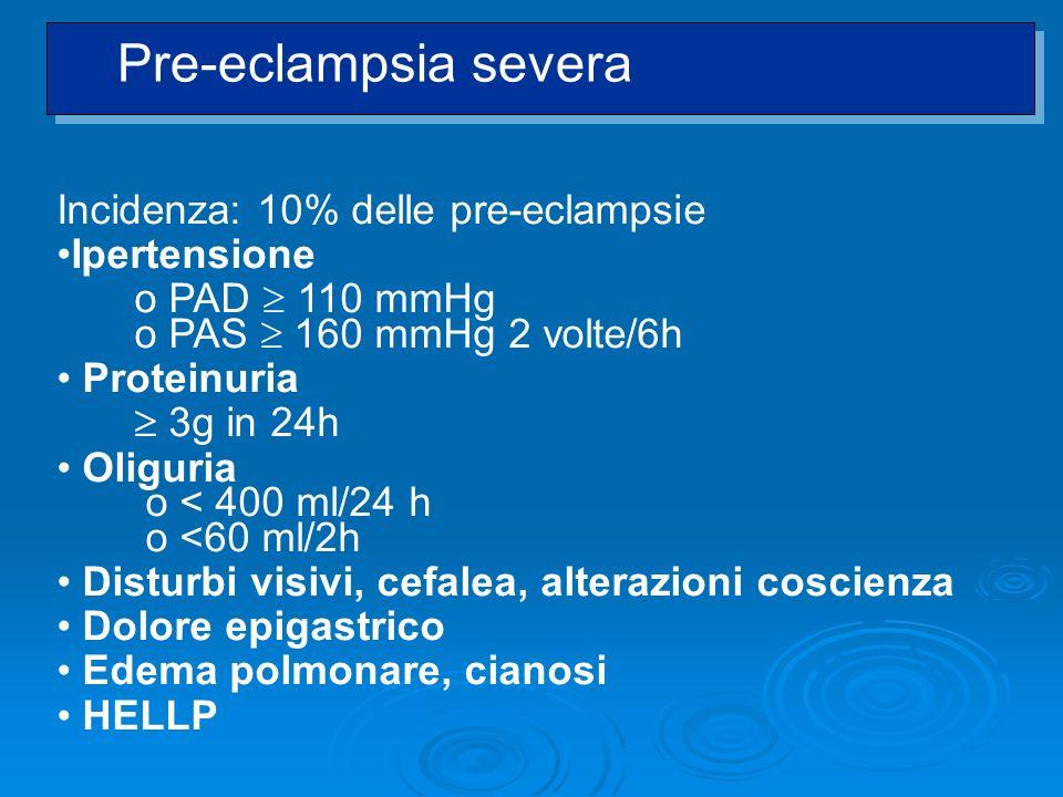 Pre-eclampsia severa Incidenza: 10% delle pre-eclampsie Ipertensione