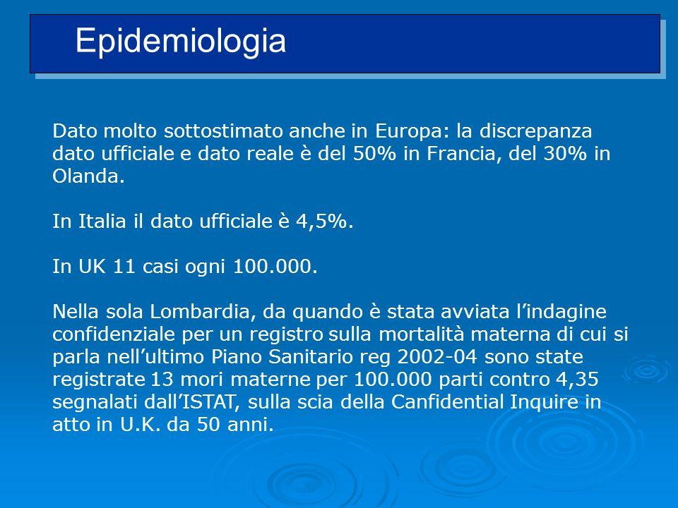 Epidemiologia Dato molto sottostimato anche in Europa: la discrepanza dato ufficiale e dato reale è del 50% in Francia, del 30% in Olanda.