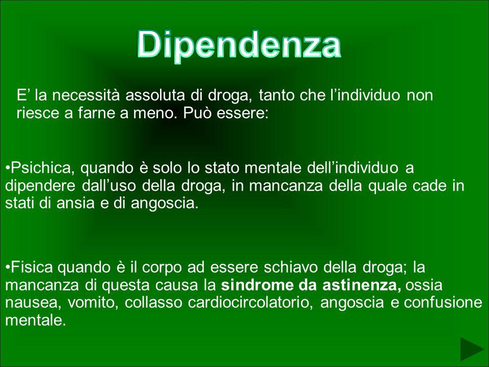 Dipendenza E' la necessità assoluta di droga, tanto che l'individuo non riesce a farne a meno. Può essere: