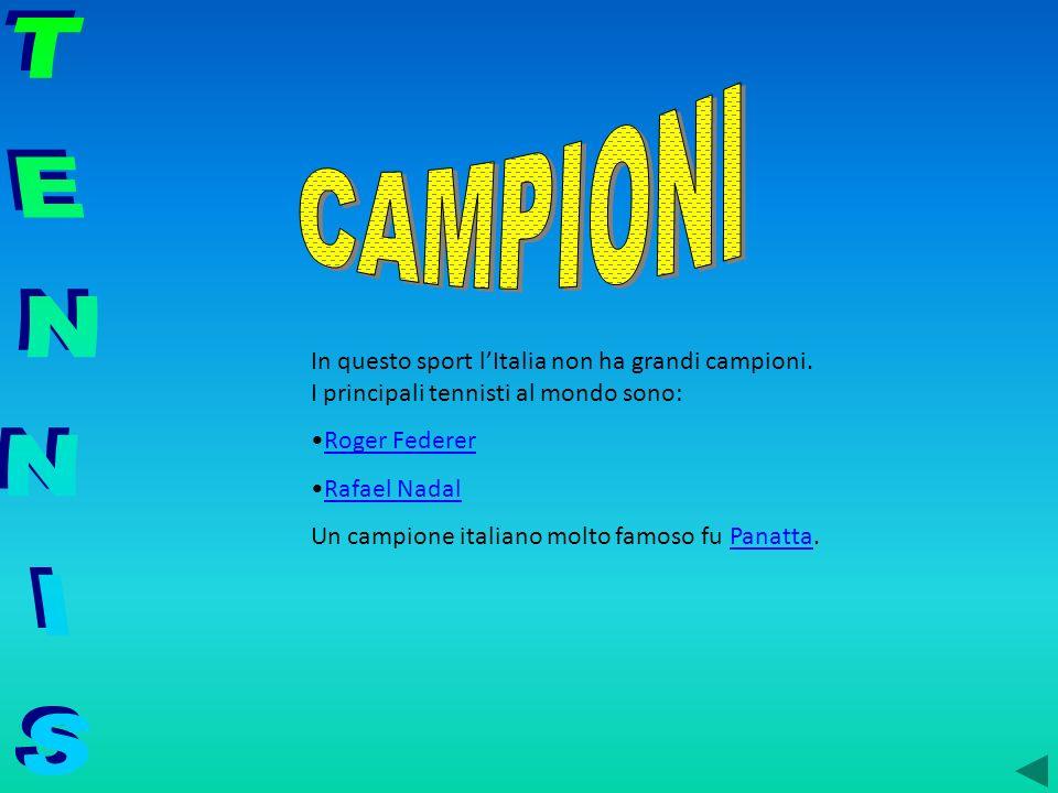 CAMPIONIIn questo sport l'Italia non ha grandi campioni. I principali tennisti al mondo sono:
