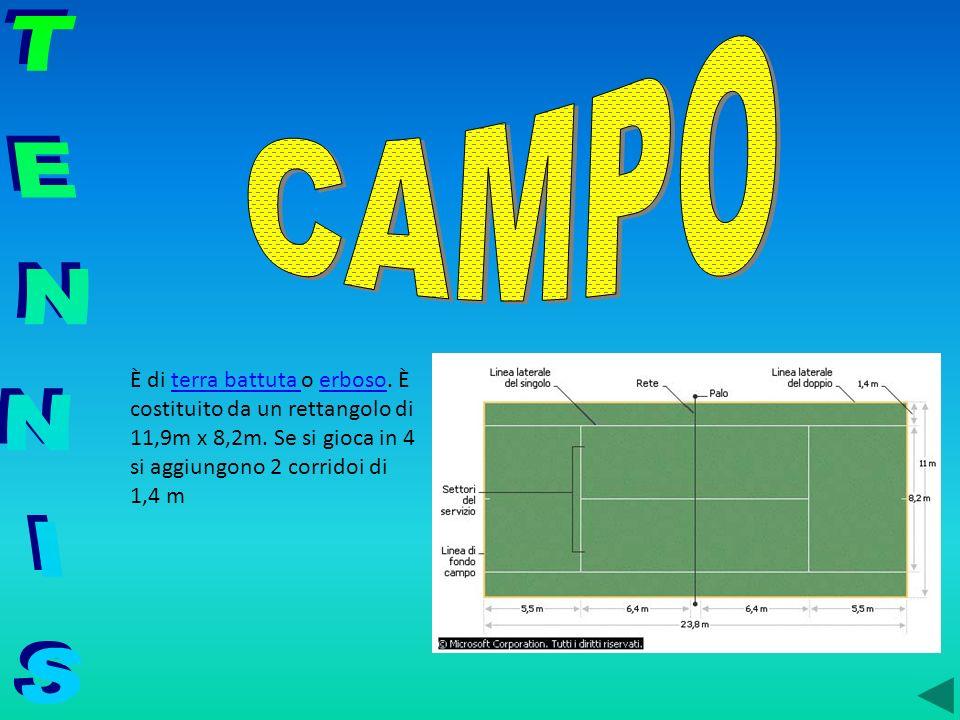 CAMPO TENNIS. È di terra battuta o erboso. È costituito da un rettangolo di 11,9m x 8,2m.