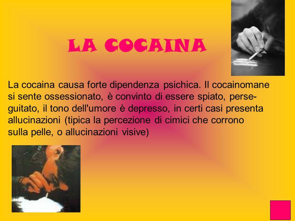 LA COCAINA La cocaina causa forte dipendenza psichica. Il cocainomane