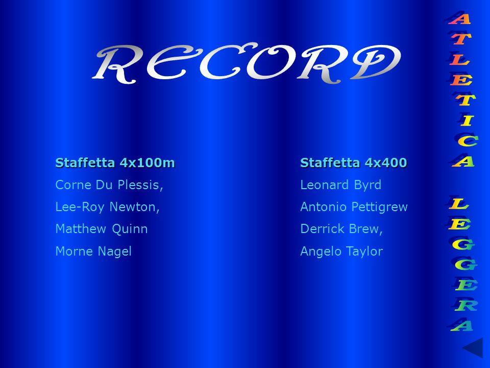 RECORD ATLETICA LEGGERA Staffetta 4x100m Staffetta 4x400
