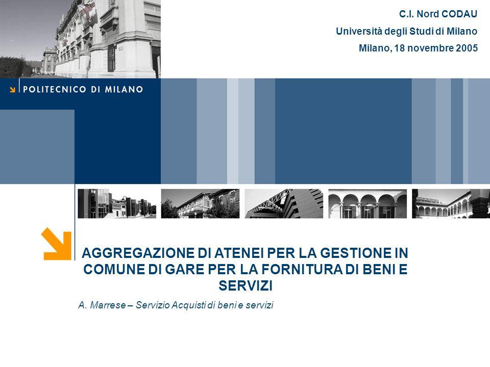 C.I. Nord CODAU Università degli Studi di Milano. Milano, 18 novembre 2005.