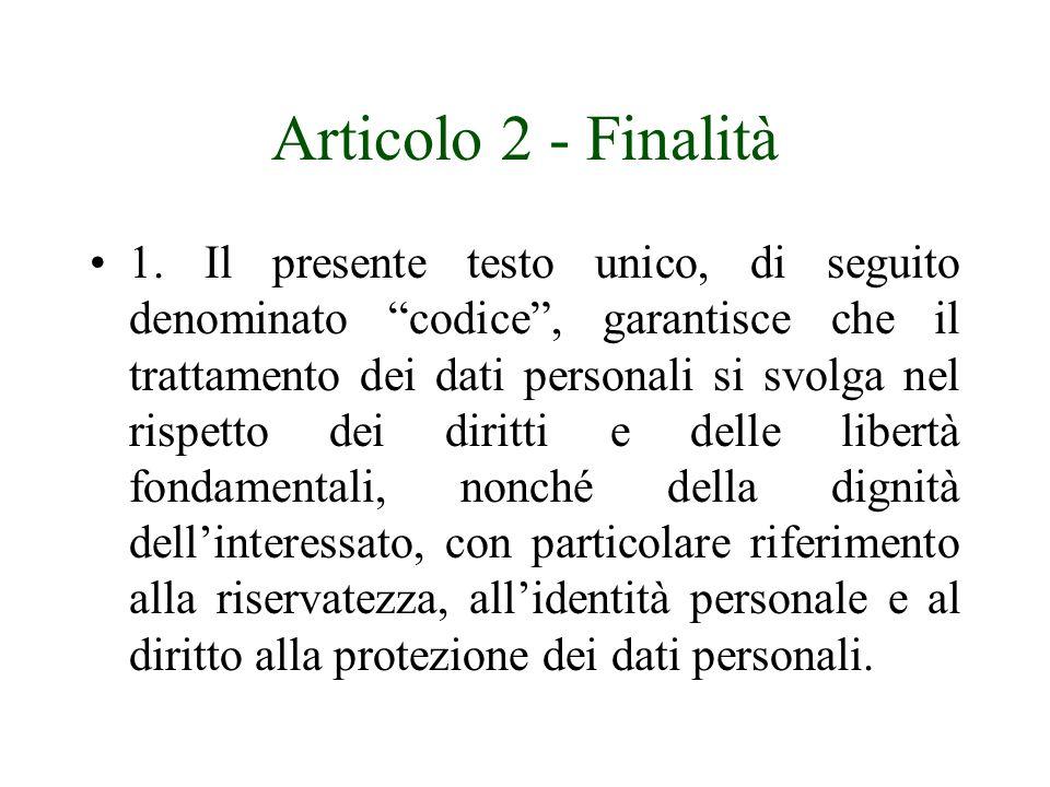 Articolo 2 - Finalità