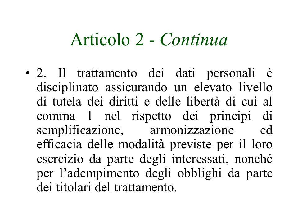 Articolo 2 - Continua