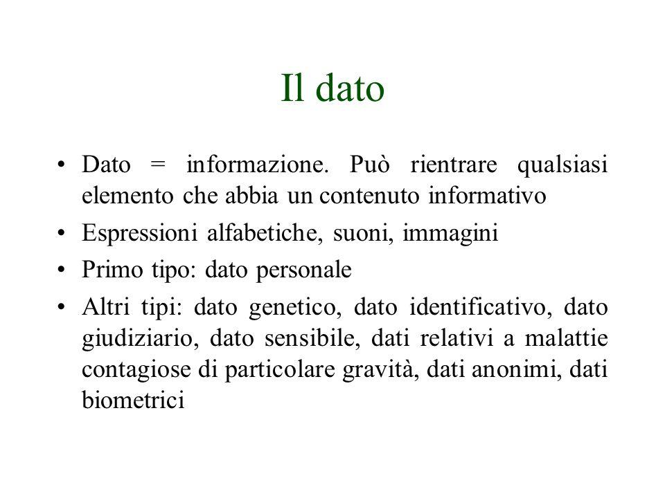Il dato Dato = informazione. Può rientrare qualsiasi elemento che abbia un contenuto informativo. Espressioni alfabetiche, suoni, immagini.