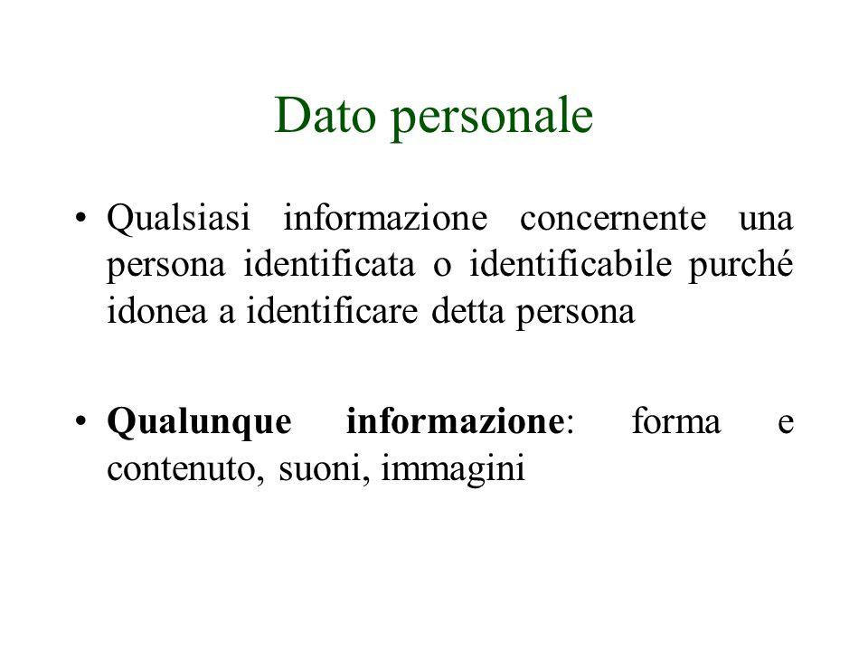 Dato personale Qualsiasi informazione concernente una persona identificata o identificabile purché idonea a identificare detta persona.