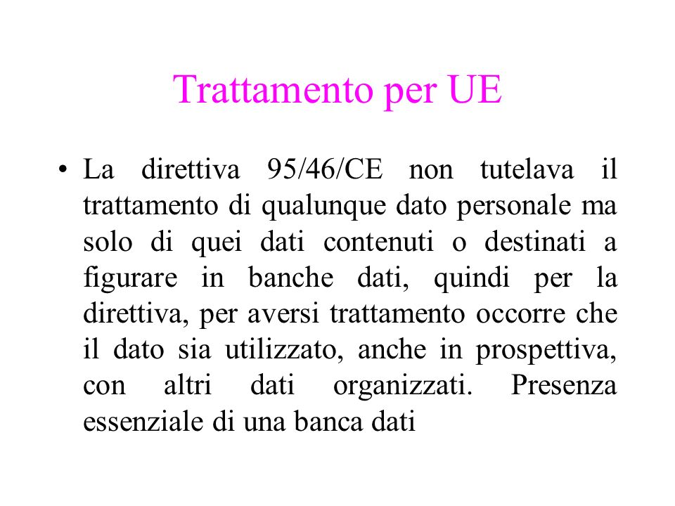 Trattamento per UE
