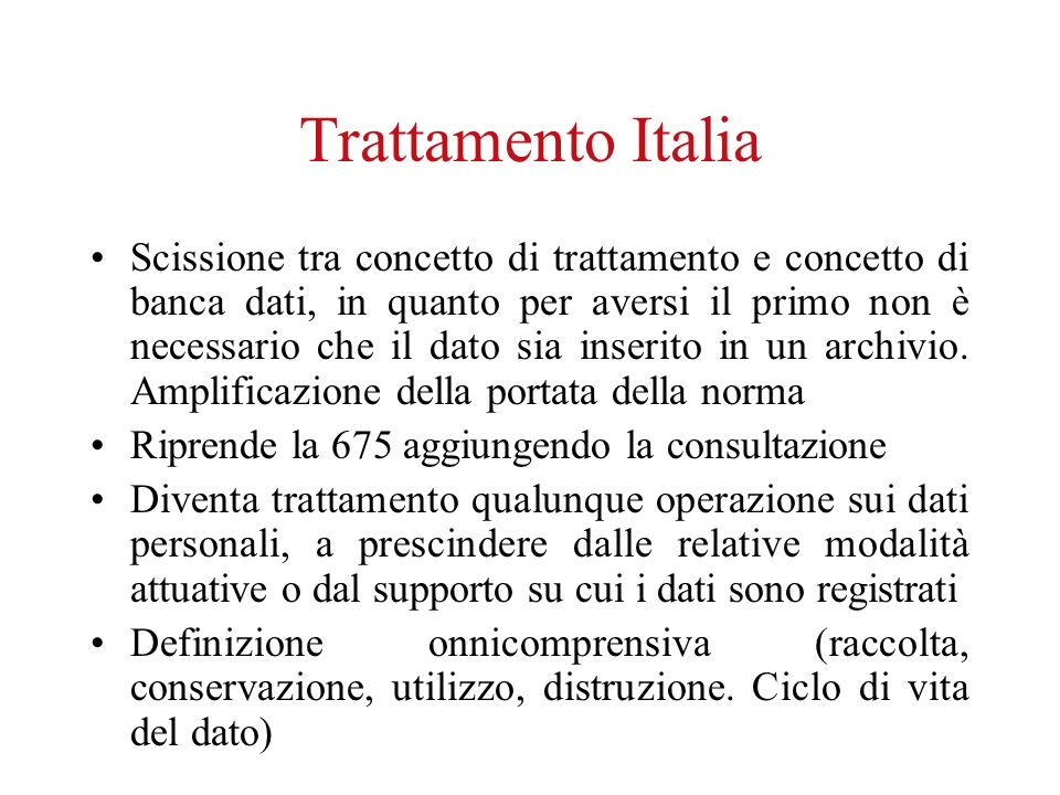 Trattamento Italia