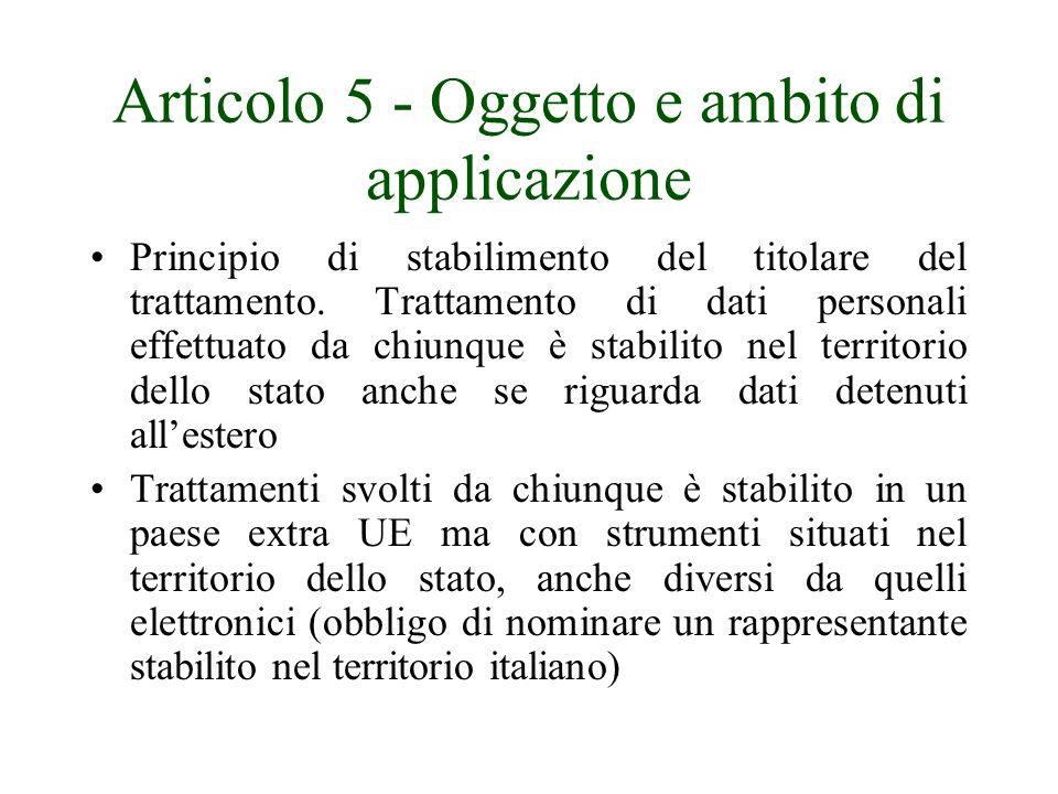 Articolo 5 - Oggetto e ambito di applicazione