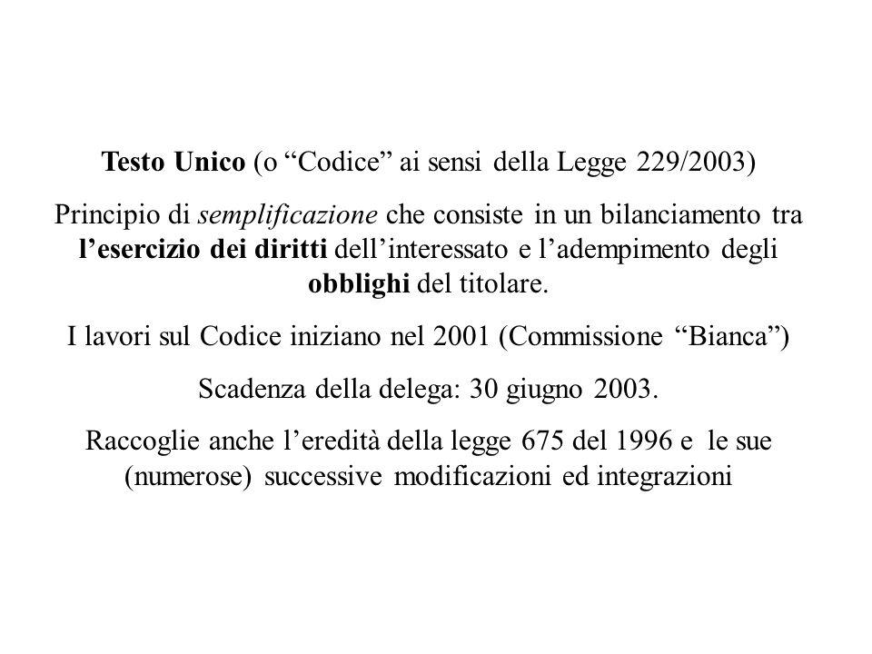 Testo Unico (o Codice ai sensi della Legge 229/2003)