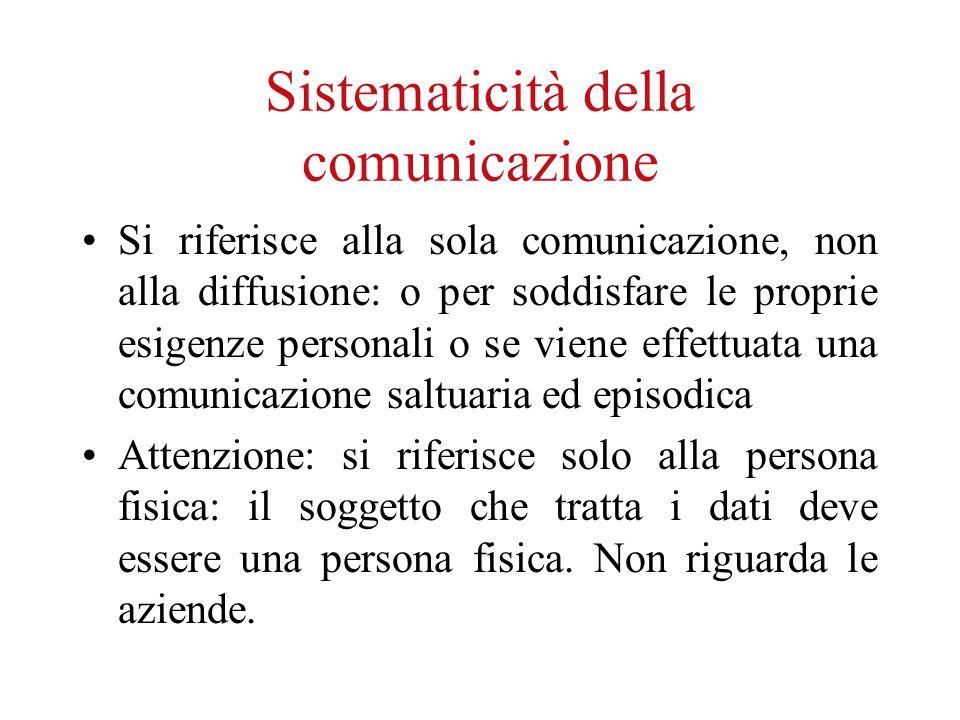 Sistematicità della comunicazione