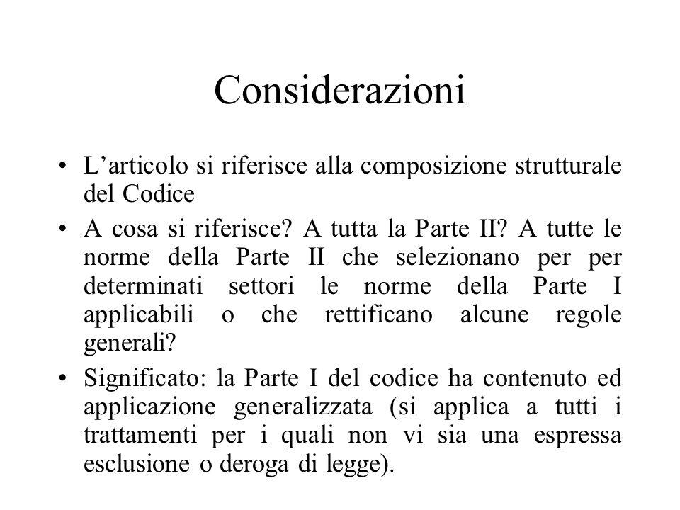 Considerazioni L'articolo si riferisce alla composizione strutturale del Codice.