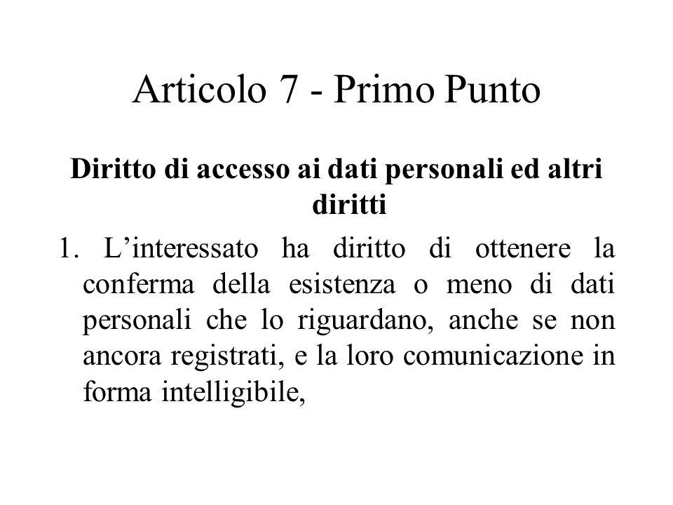 Diritto di accesso ai dati personali ed altri diritti