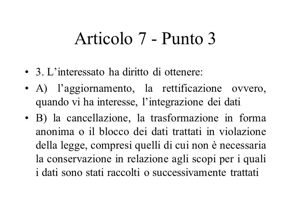Articolo 7 - Punto 3 3. L'interessato ha diritto di ottenere: