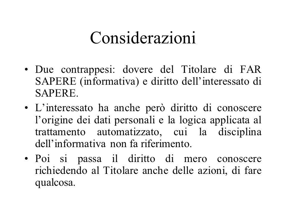 Considerazioni Due contrappesi: dovere del Titolare di FAR SAPERE (informativa) e diritto dell'interessato di SAPERE.