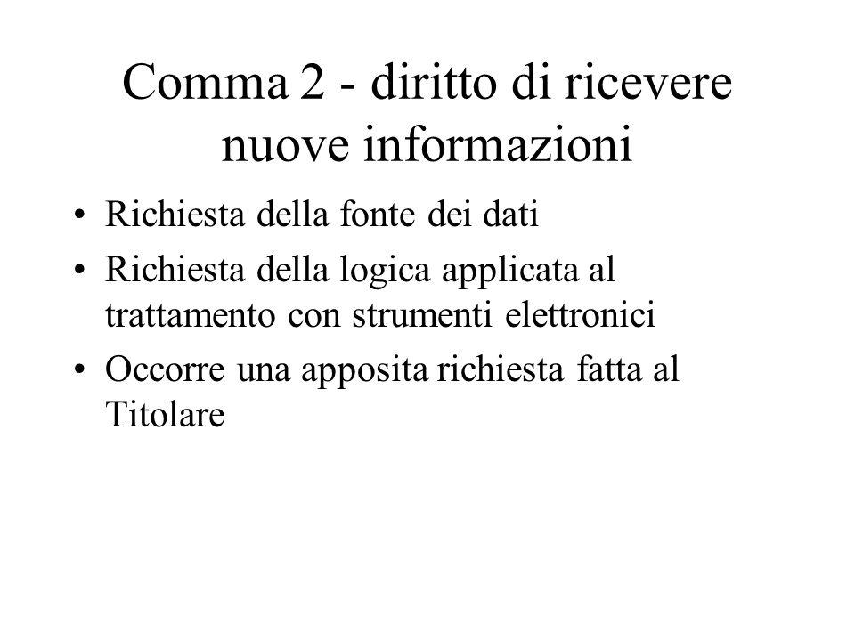 Comma 2 - diritto di ricevere nuove informazioni