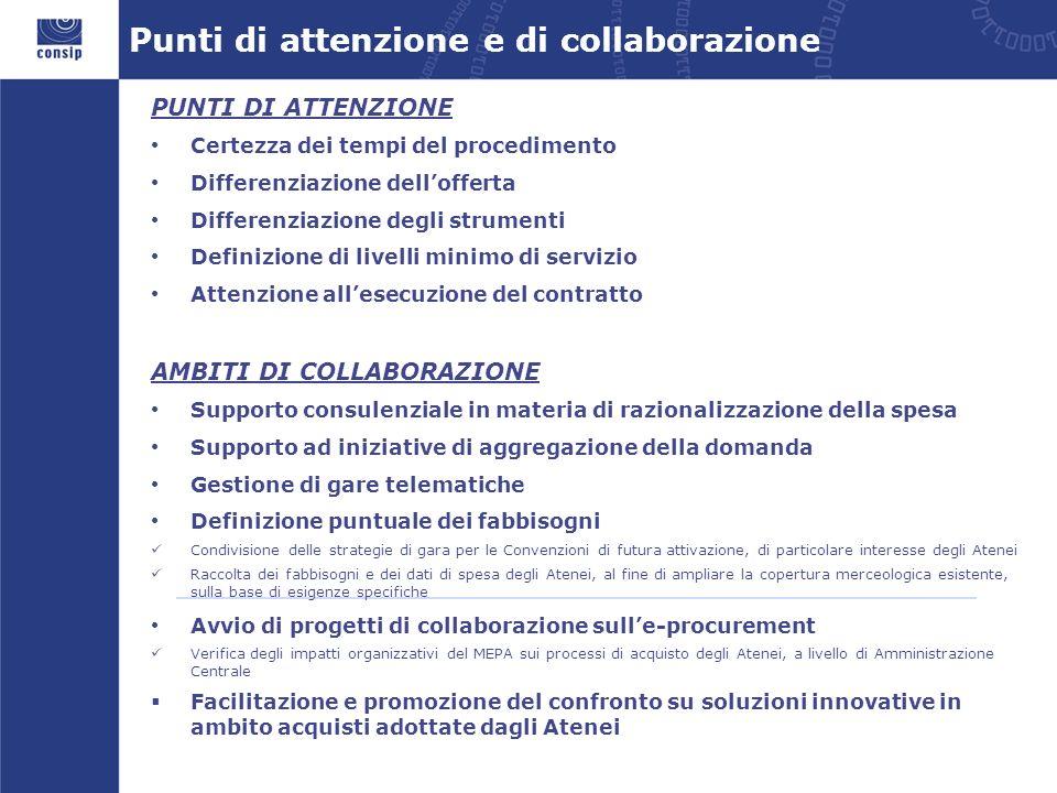 Punti di attenzione e di collaborazione