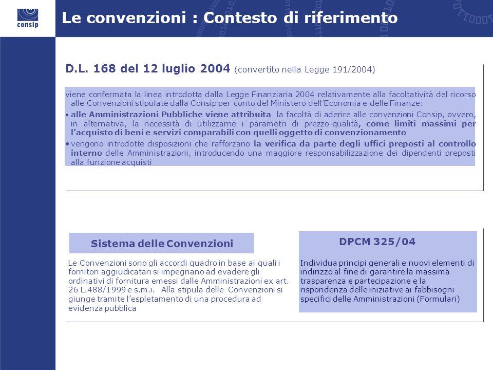 Le convenzioni : Contesto di riferimento