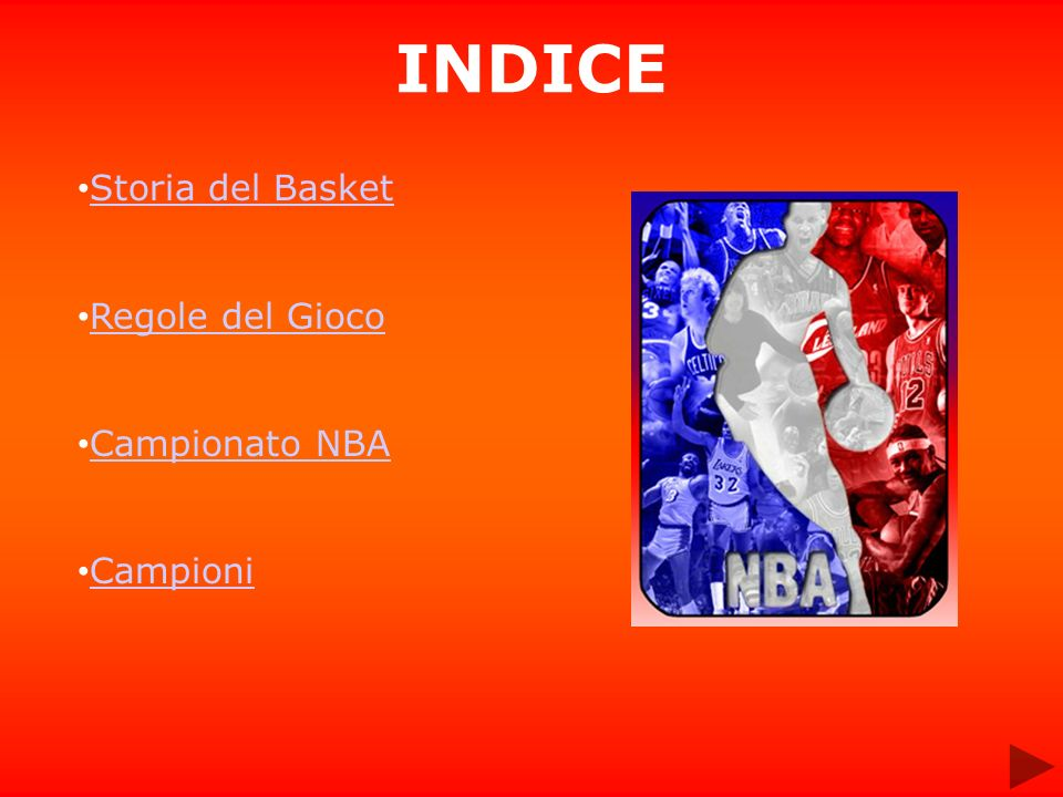 INDICE Storia del Basket Regole del Gioco Campionato NBA Campioni