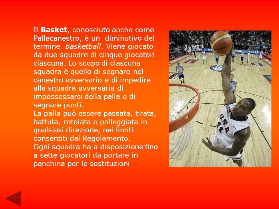 Il Basket, conosciuto anche come Pallacanestro, è un diminutivo del termine basketball. Viene giocato da due squadre di cinque giocatori ciascuna. Lo scopo di ciascuna squadra è quello di segnare nel canestro avversario e di impedire alla squadra avversaria di impossessarsi della palla o di segnare punti.
