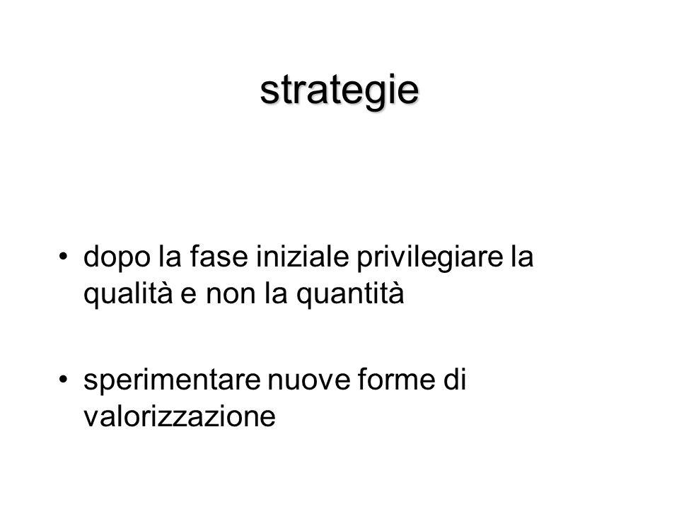 strategie dopo la fase iniziale privilegiare la qualità e non la quantità.