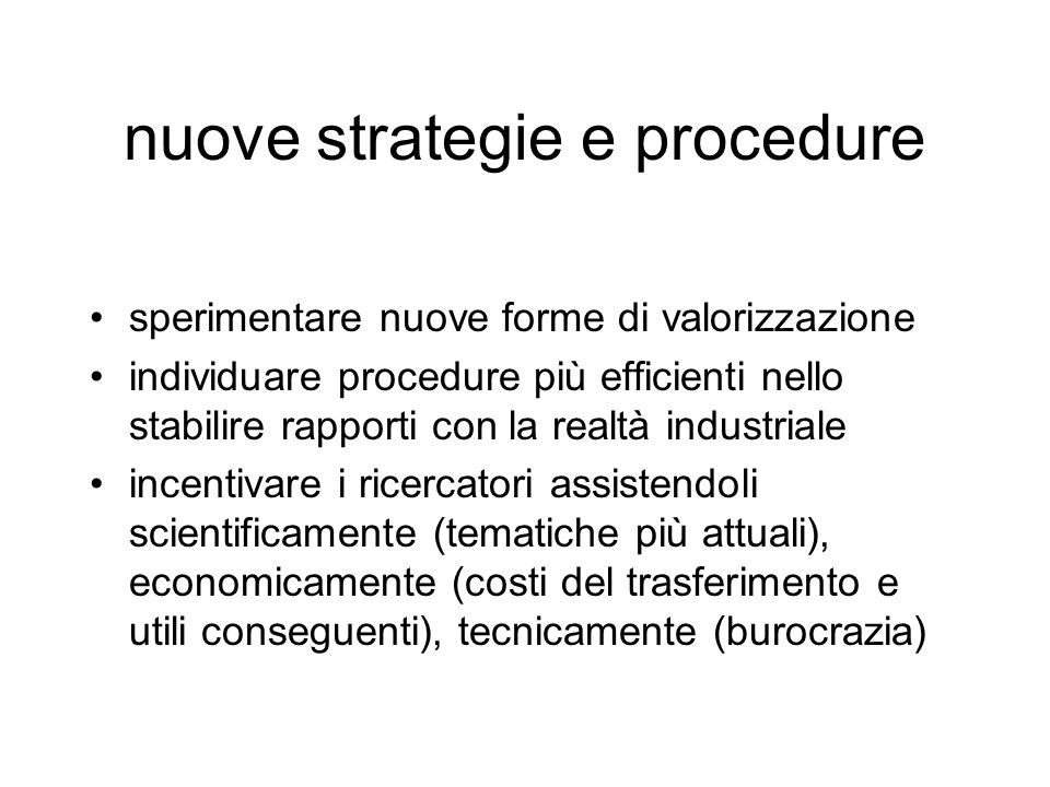 nuove strategie e procedure