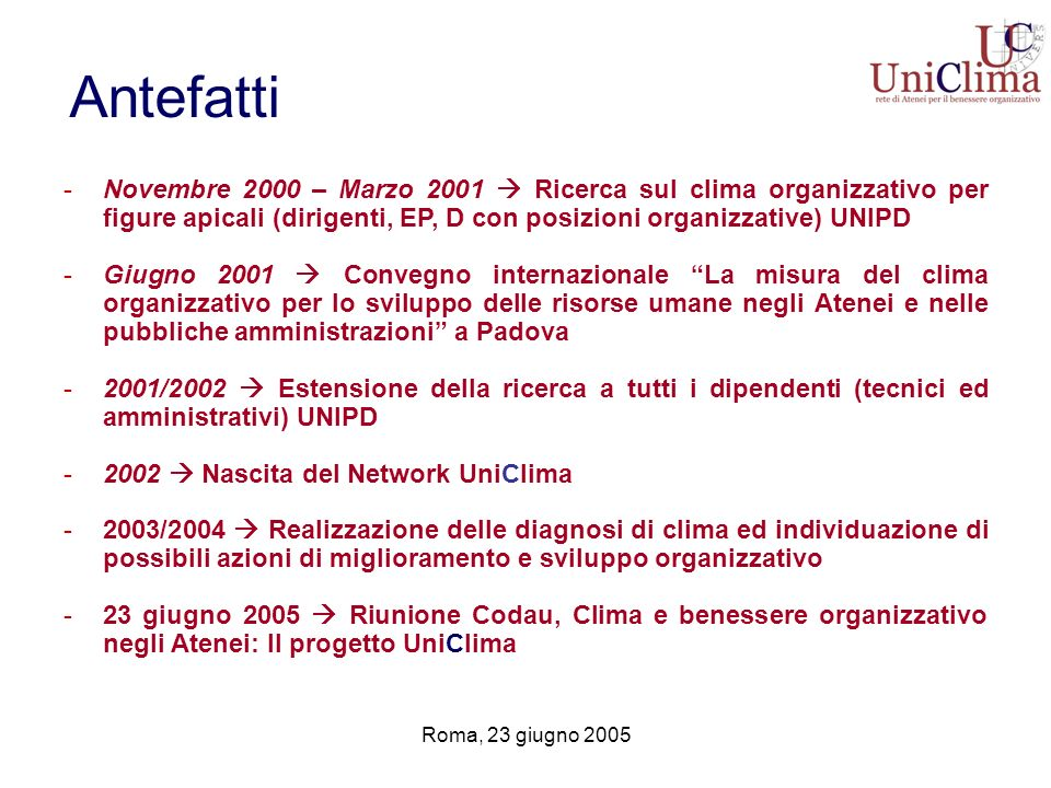 Antefatti Novembre 2000 – Marzo 2001  Ricerca sul clima organizzativo per figure apicali (dirigenti, EP, D con posizioni organizzative) UNIPD.