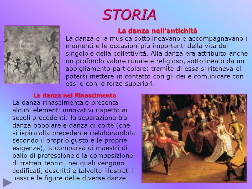 La danza nell antichità La danza nel Rinascimento