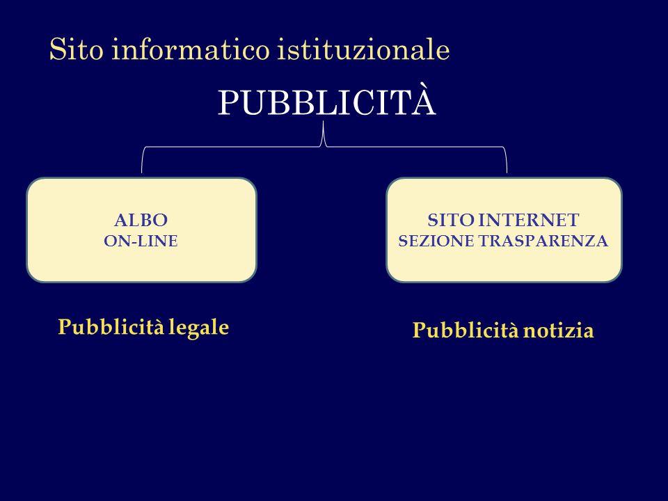 PUBBLICITÀ Sito informatico istituzionale Pubblicità legale