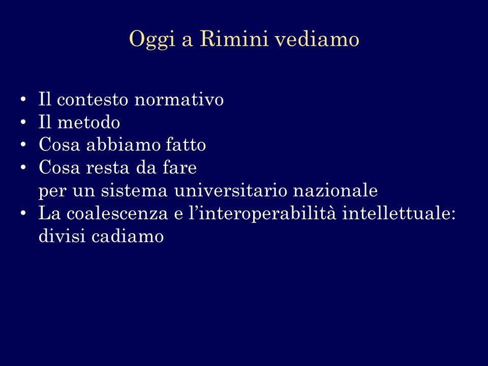 Oggi a Rimini vediamo Il contesto normativo Il metodo