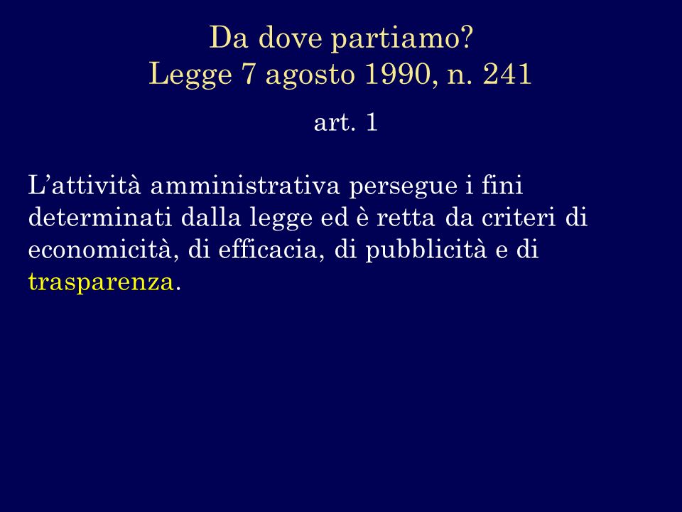 Da dove partiamo Legge 7 agosto 1990, n. 241 art. 1