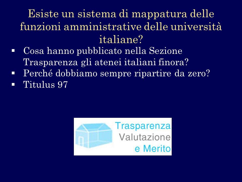 Esiste un sistema di mappatura delle funzioni amministrative delle università italiane