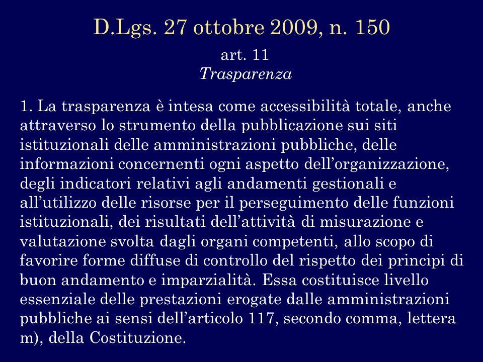 D.Lgs. 27 ottobre 2009, n. 150 art. 11 Trasparenza