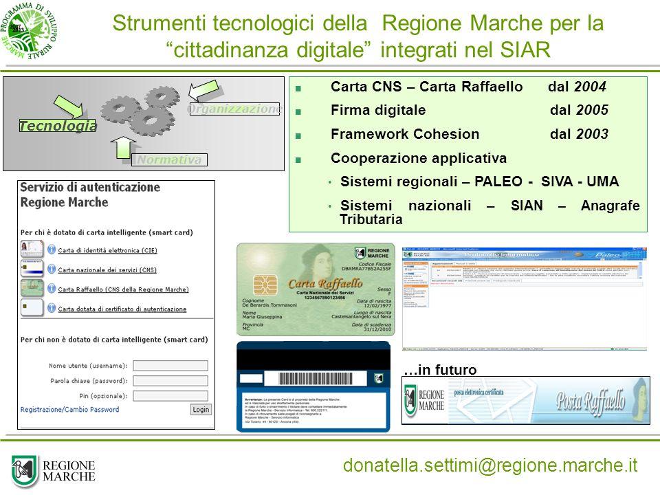 Strumenti tecnologici della Regione Marche per la cittadinanza digitale integrati nel SIAR
