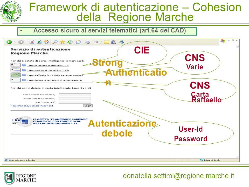 Framework di autenticazione – Cohesion della Regione Marche