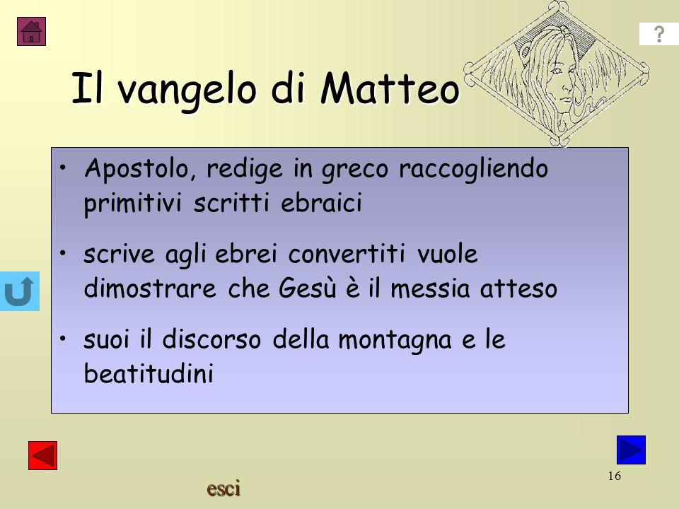 Il vangelo di Matteo Apostolo, redige in greco raccogliendo primitivi scritti ebraici.