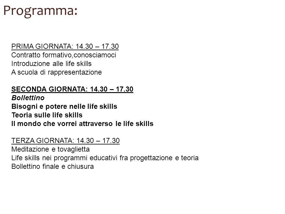 Programma: PRIMA GIORNATA: 14.30 – 17.30
