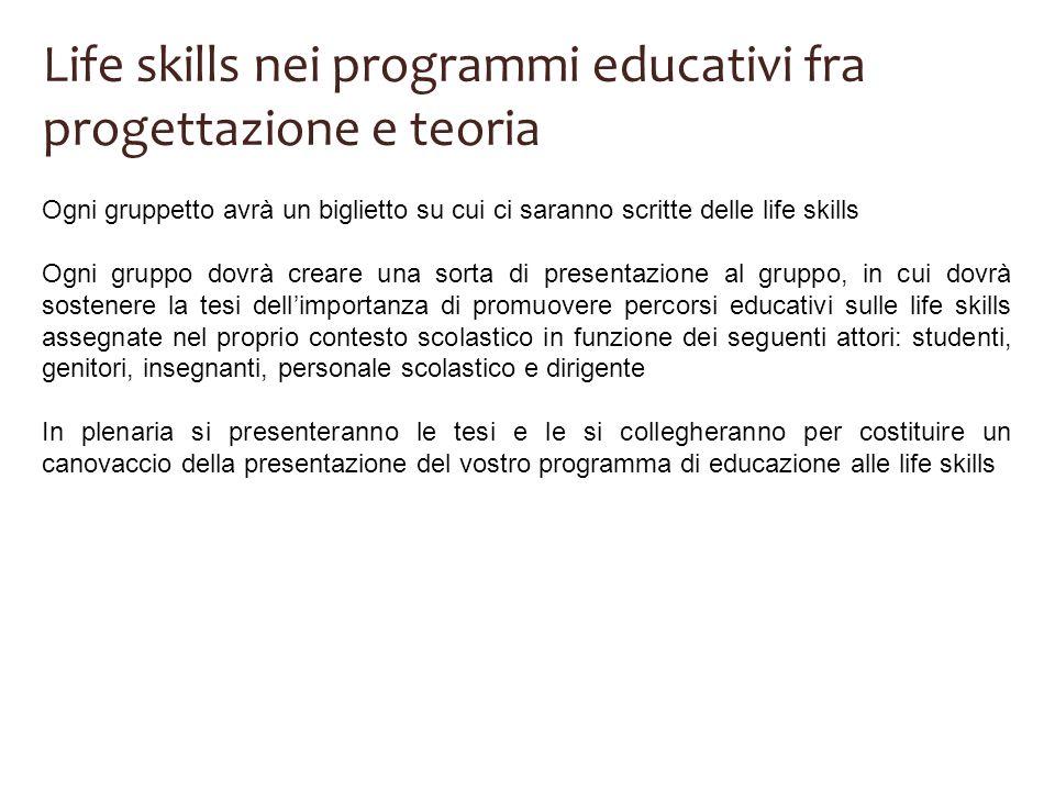 Life skills nei programmi educativi fra progettazione e teoria