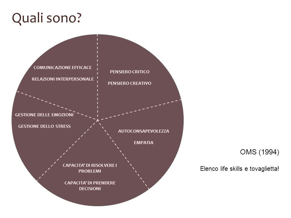 Quali sono OMS (1994) Elenco life skills e tovaglietta!